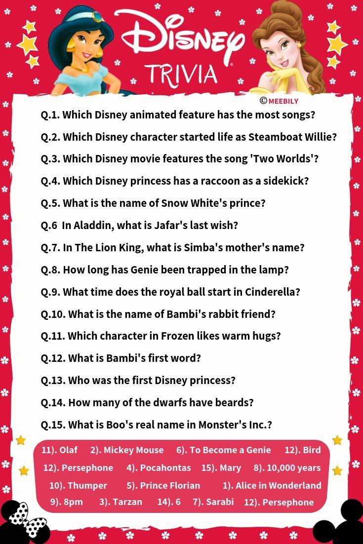 Disney Movie Trivia Questions And Answers Printable