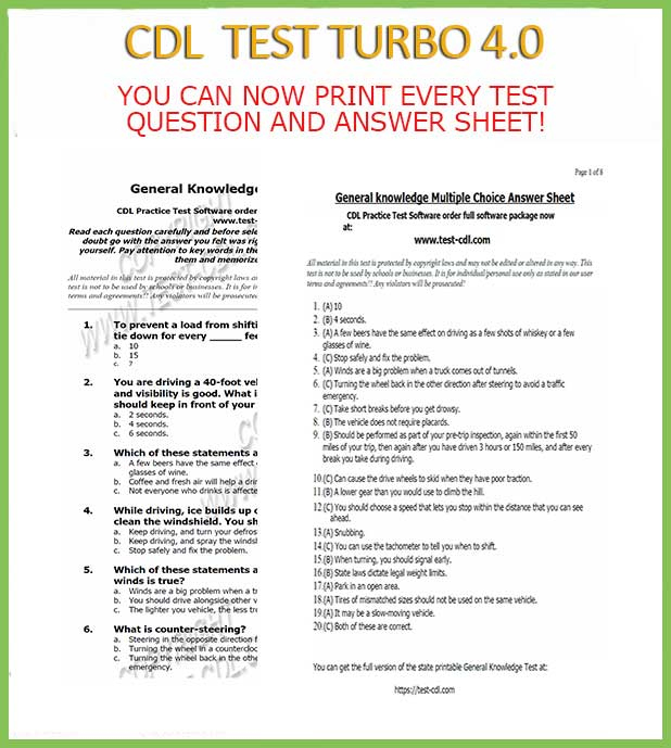 Cdl Test Questions And Answers Printable