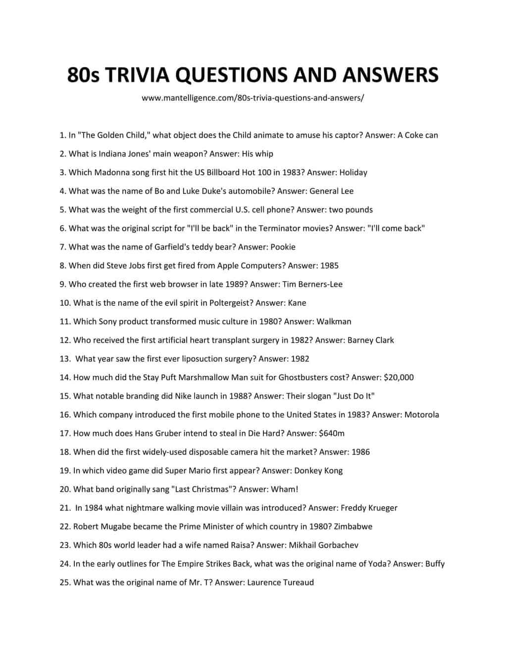 80'S Trivia Questions And Answers Printable