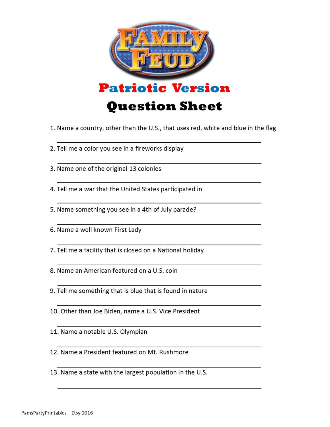 Family Feud Questions And Answers Printable