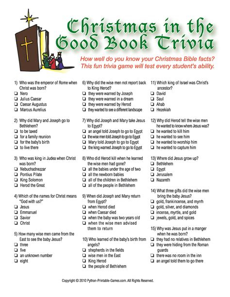 Printable Bible Trivia Questions And Answers Multiple Choice