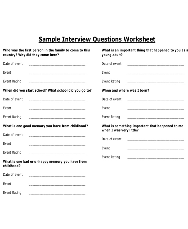 Printable Interview Questions