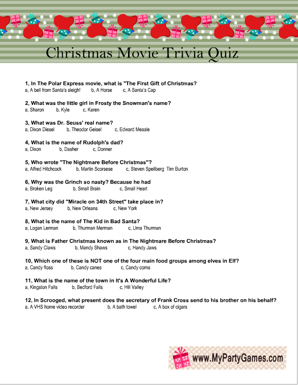 Christmas Movie Trivia Questions And Answers Printable