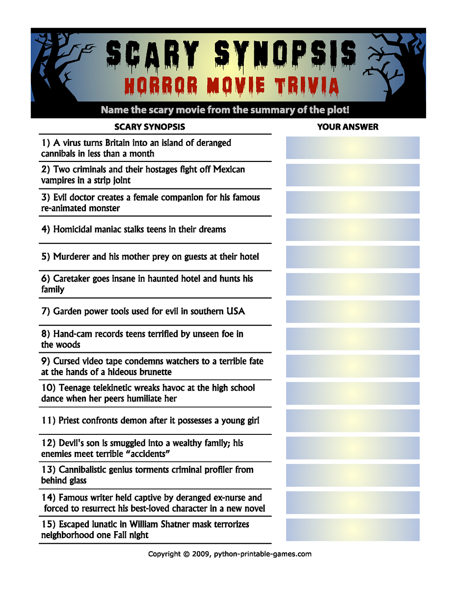 Horror Movie Trivia Questions And Answers Printable