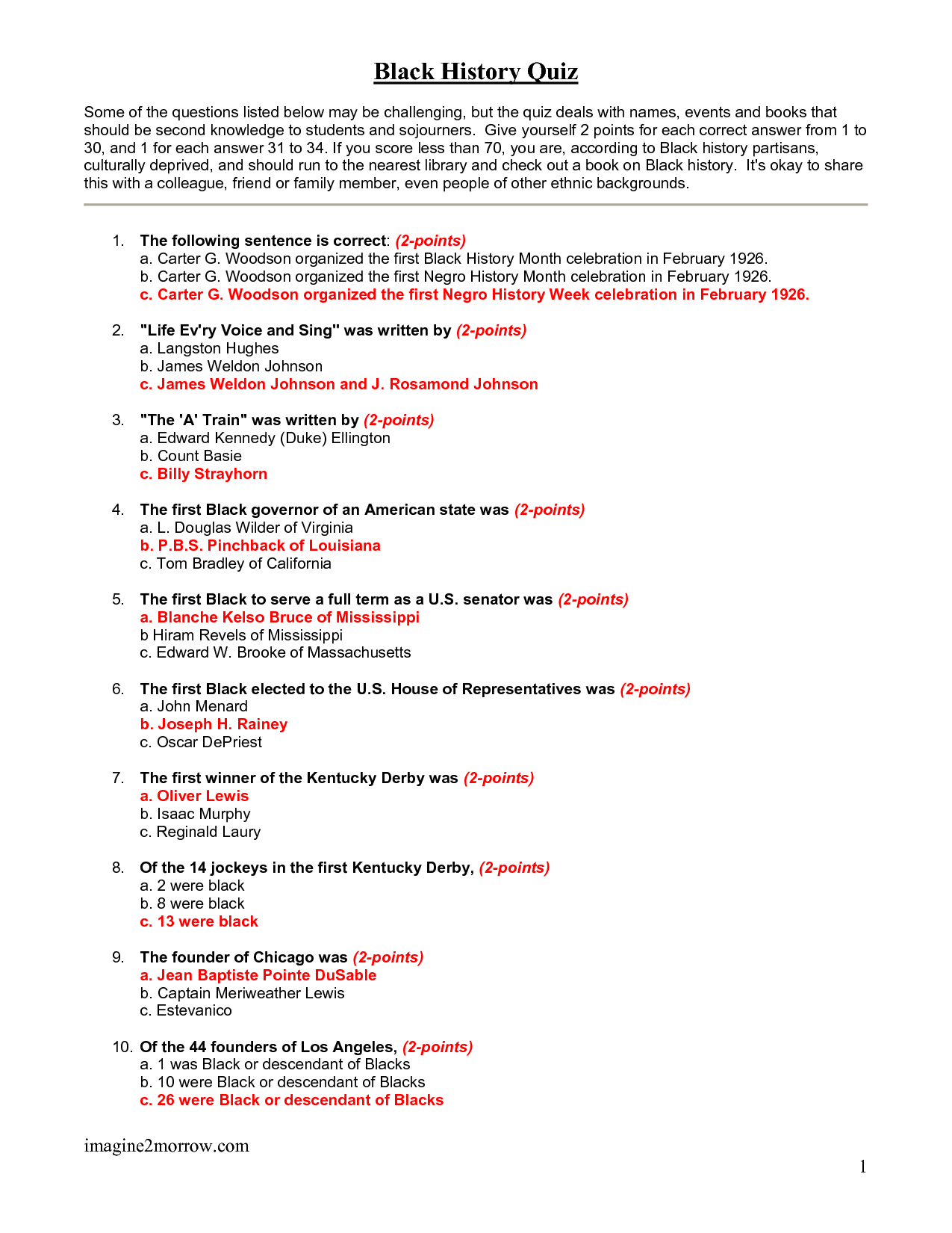 Free Printable Black History Trivia Questions And Answers