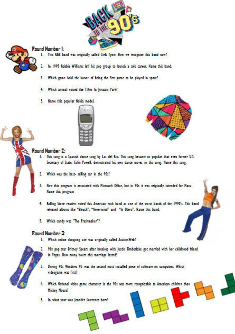 90s Trivia Questions And Answers Printable