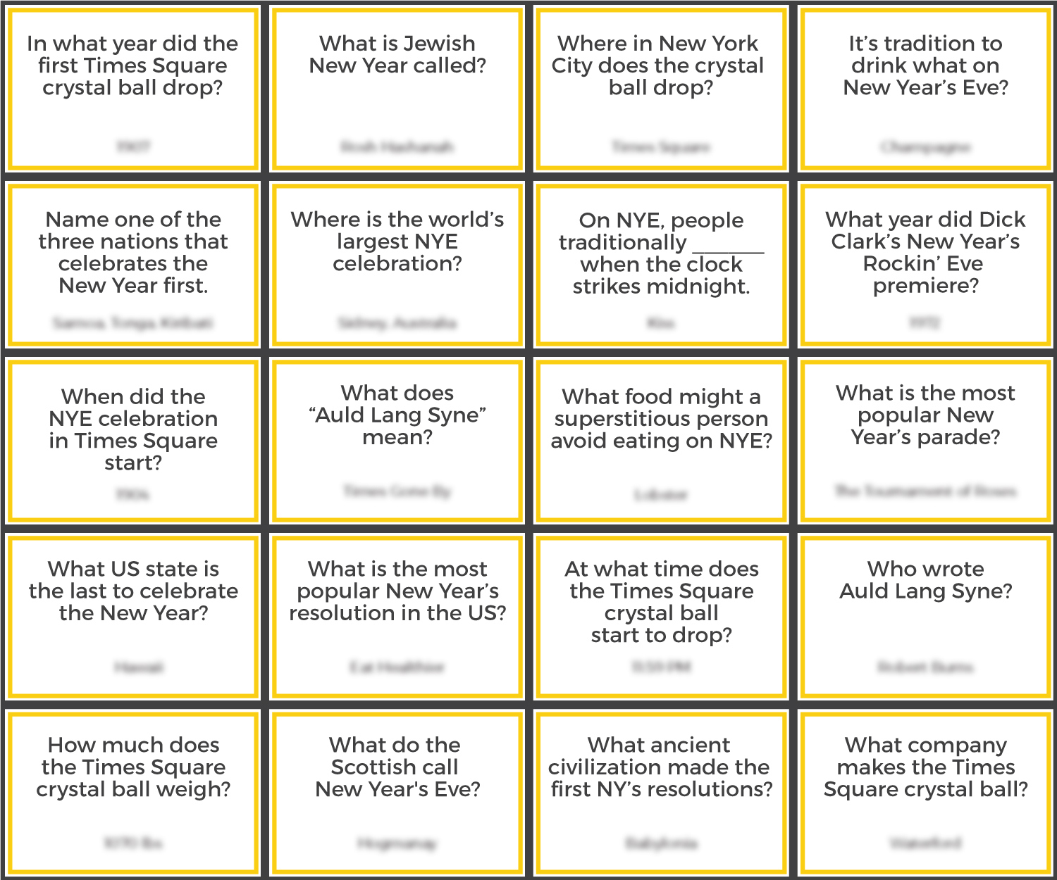 New Years Eve Quiz Questions And Answers Printable