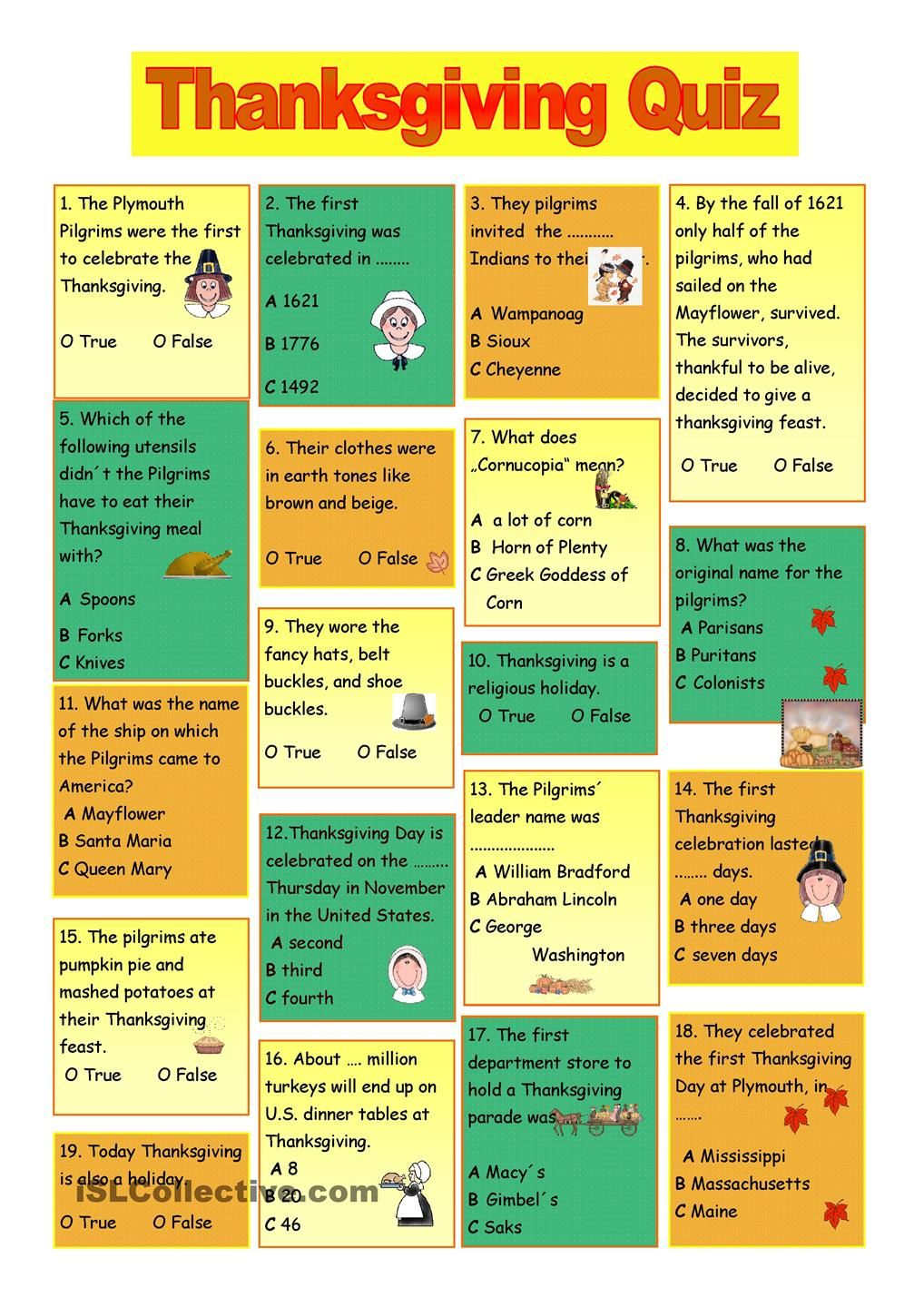 Thanksgiving Trivia Questions And Answers Printables