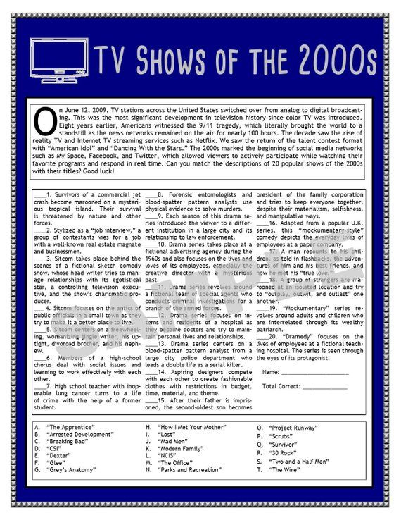 2000s Pop Culture Trivia Questions And Answers Printable