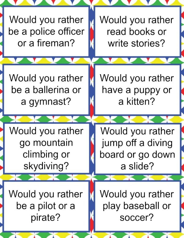 Would You Rather Questions For Kids Printable